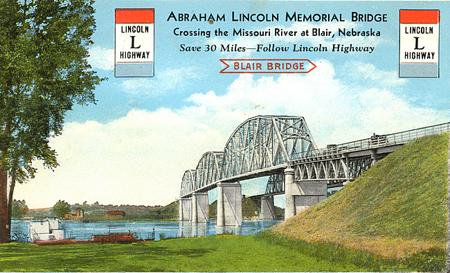 Across the Missouri River (Lincoln Highway Edition) - Screened Lithograph - Postcard from the Nathan Kramer Collection Catalog No. BGR-0026