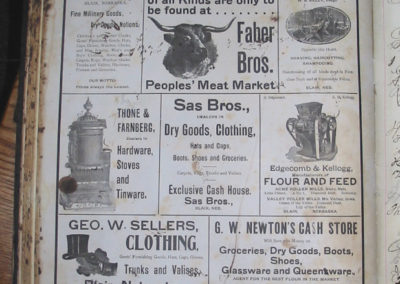 Local advertisements in the registry book.